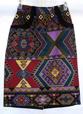 Vtg 80s Southwestern Western Tribal Navajo Print Short Skirt Pencil Rockabilly
