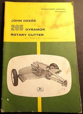 John Deere 205 Gyramor Rotary Cutter Operators Manual Om-w14863 213