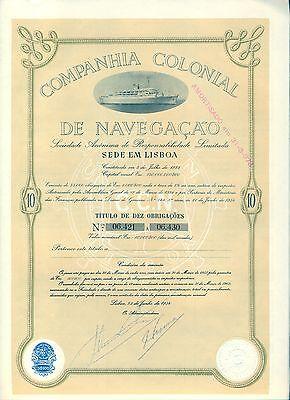 Companhia Colonial De Navegacao Bond Stock Certificate Portugal Steamboat Olive