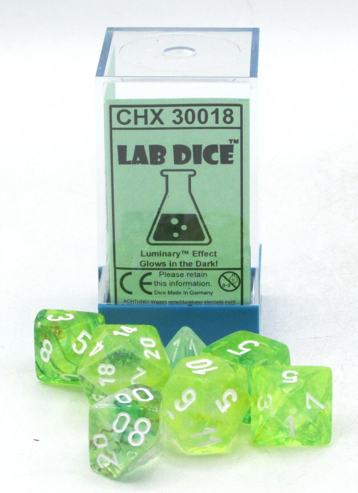 Chessex Lab Dice CHX 30018 Nebula Spring/White Luminary