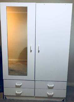 2Door 4Drawer Wooden Wardrobe W Mirror In White + FREE SIDE TABLE