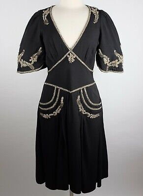 Alice Temperley London black dress UK 12 US 8 embellished with sleeves $2395