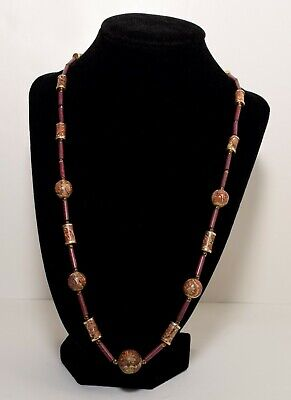 Printed Porcelain or Rock Round & Tube Beads Necklace Vintage Costume Jewelry