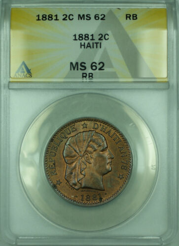 1881 2C Haiti ANACS MS-62 RB Coin 2 Centimes Bronze KM#43