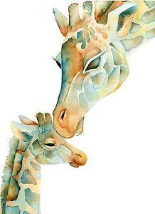 GIRAFFE BABY AND MUM KISS WATERCOLOUR IMAGE A3 Poster Gloss Print (New)