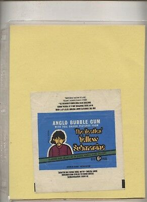 ANGLO CONFECTIONERY  BEATLES' YELLOW SUBMARINE GUM CARD GEORGE WRAPPER  1968