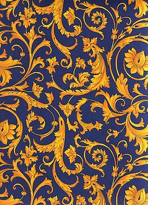Italienisches Buntpapier / Überzugspapier / Buntpapier 50 x 70 cm blau gelb