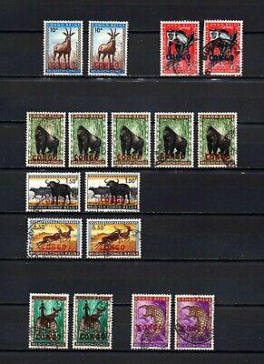Belgisch Congo Belge Rep. Congo Kinshasa 17 used diff. color Overprints Animals