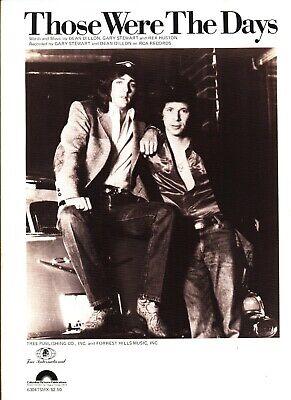 GARY STEWART DEAN DILLON THOSE WERE THE DAYS SHEET MUSIC PIANO/VOCAL/GUITAR (Those Were The Days Piano Sheet Music)