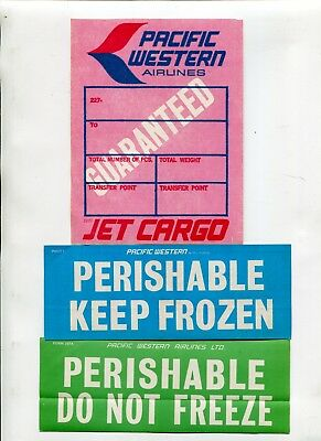 Vintage Airline Luggage Label Stickers PACIFIC WESTER AIRLINES CARGO 3 pcs