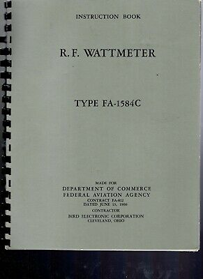 Original Bird Fa-1584c Rf Wattmeter Instruction Booklet 1960