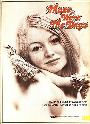 MARY HOPKIN THOSE WERE THE DAYS SHEET MUSIC PIANO/VOCAL/GUITAR 1968 NEW ON (Those Were The Days Piano Sheet Music)