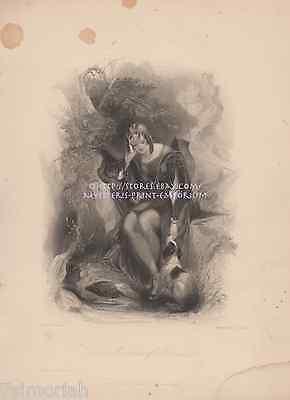 Troubadour Of Provence-Dog-Medieval Castle-1839 ANTIQUE VINTAGE ART PRINT-Picture