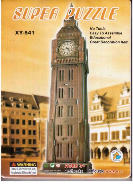 BIG BEN WESTMISTER CLOCK TOWER LONDON 3D Puzzle 4 SHEETS Education LARGE MODEL