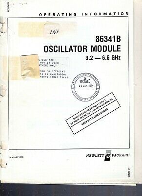 Hewlett Packard Oscillator Module 86341b 3.2-6.5ghz Operating Information