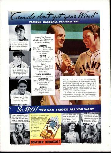 Print Ad, CAMELS CIGARETTES - Lou Gehrig, Carl Hubble, Rip Collins, Mel Ott 1935