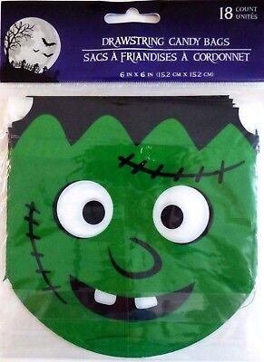 New Halloween Drawstring Candy Treat Bags (18 Count) ~ Frankenstein - Frankenstein Halloween Treat Bag