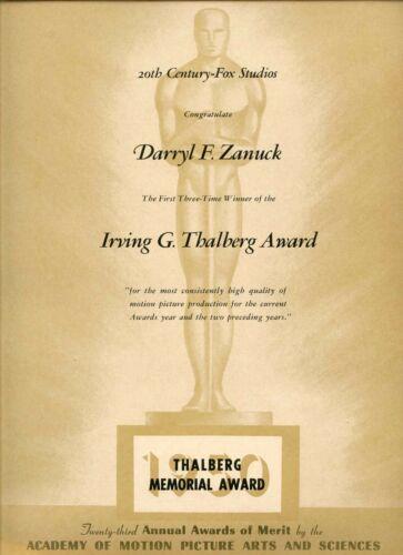 "1950 DARRYL F. ZANUCK ""THALBERG AWARD"" 1949 20TH CENTURY FOX OSCAR CONGRATS AD"