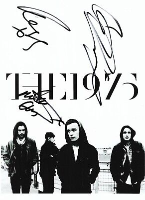 """THE 1975 BAND FULLY HAND SIGNED """"12x8"""" MUSIC PHOTO AUTOGRAPH INC MATT HEALY"""