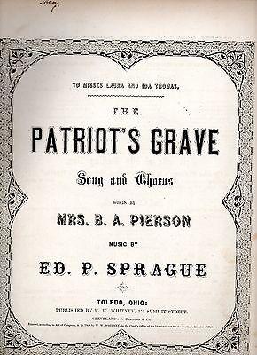 Civil War Sheet Music The Patriot's Grave, Sprague, Ed. P., 1864