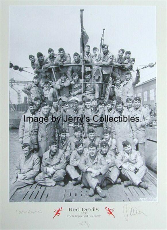 Erich Topp multi-signed by 5 print! U-Boat KC Winner. U-552 Red Devils.WWII