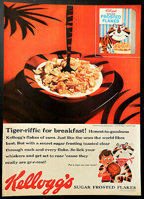 Vtg 1959 Kellogg's frosted flakes cereal Tony the Tiger advertisement print ad