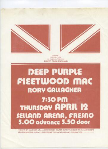 DEEP PURPLE Fleetwood Mac RORY GALLAGHER 1973 Original Concert Handbill / Flyer