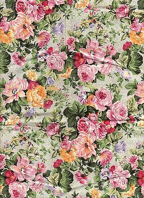 AUNT BEA'S ROSE BY GAIL KESSLER ,FAT QUARTER, PATCHWORK  CRAFT FABRIC,NO.2691