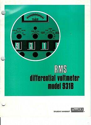 Original Fluke Model 931b Rms Differential Voltmeter Student Handout
