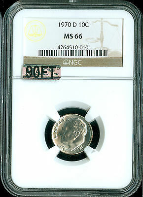 Click now to see the BUY IT NOW Price! 1970 D ROOSEVELT DIME NGC MAC MS66 90 FT   2ND FINEST SPOTLESS .