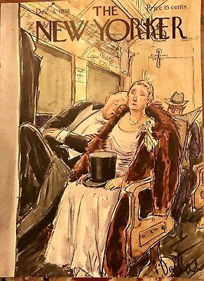 Vintage 1938 New Yorker Magazine Original Cover Perry Barlow Socialite Train
