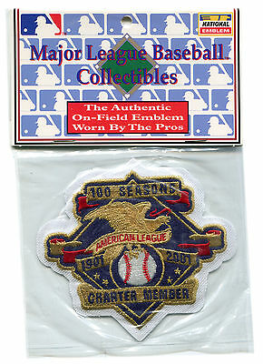 American League Official Baseball - 2001 AMERICAN LEAGUE 100 YEARS CHARTER MEMBER OFFICIAL MLB BASEBALL JERSEY PATCH