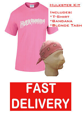 HOGAN HULKAMANIA HULK FANCY DRESS WRESTLING WRESTLER PINK T-SHIRT BANDANA & TASH