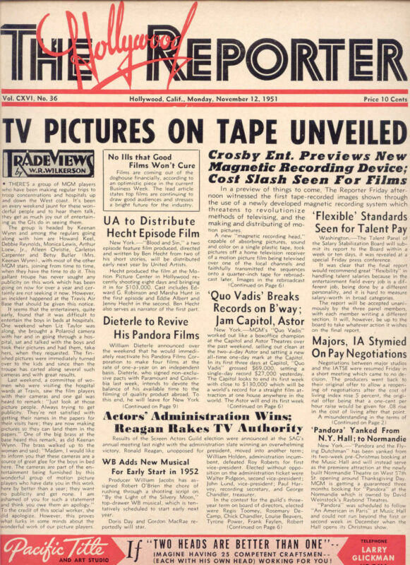 """1951 HOLLYWOOD REPORTER: Bing Crosby Co., """"TV PICTURES ON TAPE UNVEILED"""" ISSUE"""
