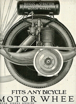 1920 Vintage Orig Briggs-Stratton MOTOR WHEEL Two Page AD. Full Pg Illustration