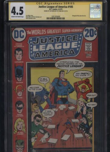 Justice League of America #105 CGC 4.5 SS Len Wein 1973