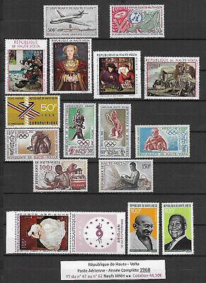 French Upper Volta 1968 (16 Air Mail Stamps) MNH ** Complet Year - 44, 30€