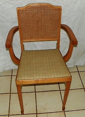 Maple Folding Cane Back Armchair / Chair