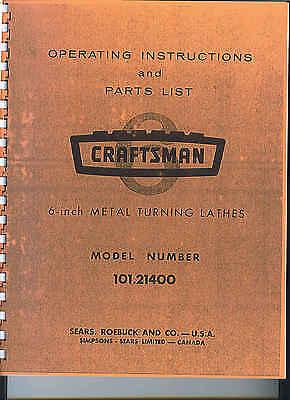 Craftsman 101 Metal Lathe Manual Maintenance Parts