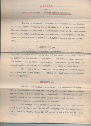 1902 Typewritten Report Cinco Senores & Yavesia Mining Properties Oaxaca Mexico