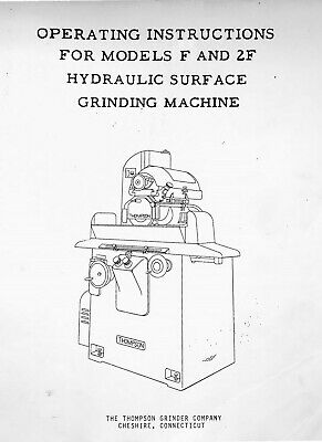 Thompson Hydraulic Surface Grinder Model F 2f Operating Instructions Manual 19