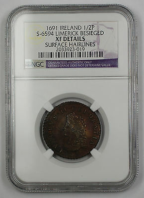 Click now to see the BUY IT NOW Price! 1691 IRELAND 1/2P COIN S-6594 LIMERICK BESIEGED NGC XF DTLS SURFACE HAIRLINE AKR