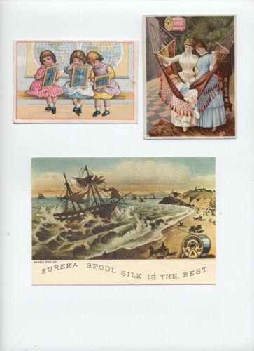 2 Victorian Eureka Thread trade cards plus modern postcard repro [S.203]