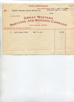 Vintage Billhead Great Western Smelting   Refining San Francisco 1915 Copper