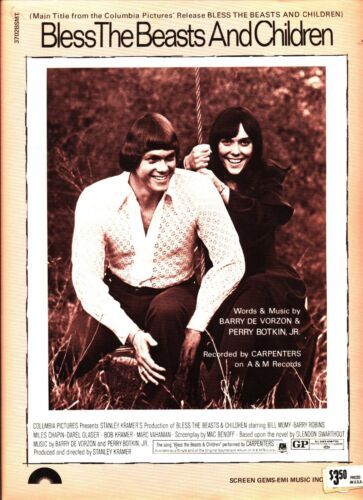 CARPENTERS BLESS THE BEASTS AND CHILDREN SHEET MUSIC PIANO/VOCAL/GUITAR 1971 NEW