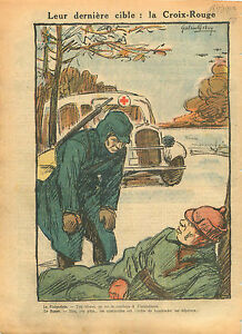 "WWII Caricature Anticommunist Finlandia Russia Red Cross Truck 1940 ILLUSTRATION - France - Commentaires du vendeur : ""OCCASION"" - France"