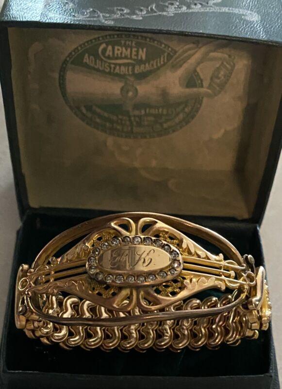 Antique CARMEN Gold Filled/Rhinestones Sweetheart Bracelet Signed DFB Co