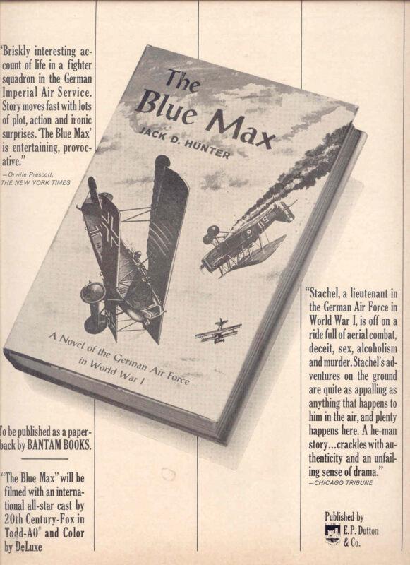 """1964 RARE """"THE BLUE MAX"""" BOOK & FILM PROMO AD"""