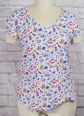 NWT Womens GAP Short Sleeve Easy V-Neck T-Shirt Whimsy Floral - 806915