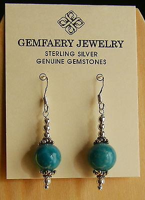 Sterling Silver Natural Deep Blue Peruvian Opal Dangle Earrings...handmade Usa
